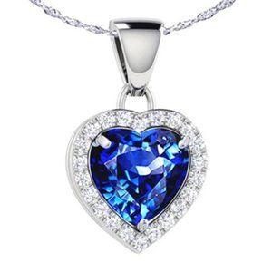 Jewelry - 1.75 Ct Blue Heart Cut Sapphire Diamond Pendant